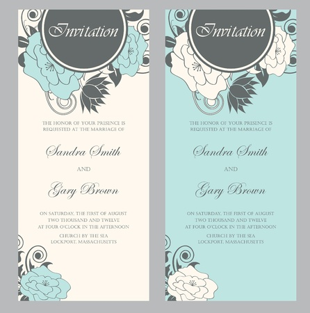 Beautiful floral wedding invitations  illustration Vector