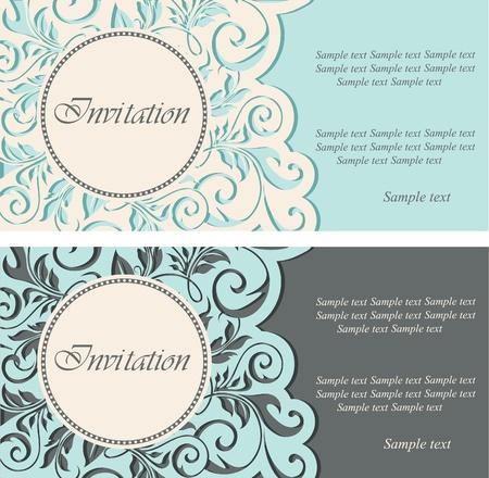 Beautiful vintage invitations  illustration Vector