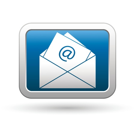 E mail icon on the blue with silver rectangular button  Vector illustration Vector