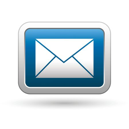 phone button: Mail icon on the blue with silver rectangular button  Vector illustration