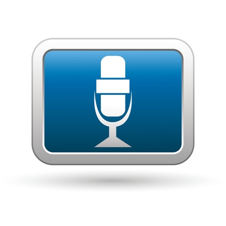 Microphone icon on the blue with silver rectangular button  Vector illustration Stock Vector - 18406664