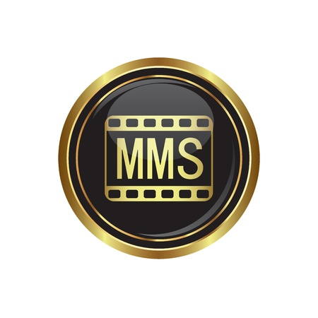 mms: mms icon on the black with gold round button  Vector illustration Illustration