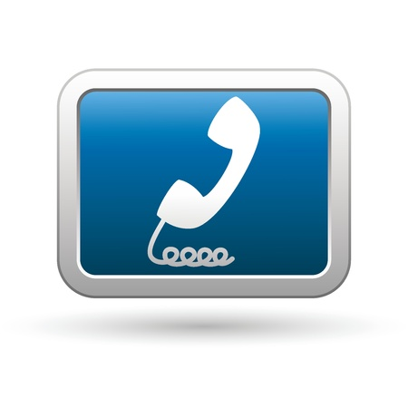 stretched: Telephone receiver icon on the blue with silver rectangular button  Vector illustration