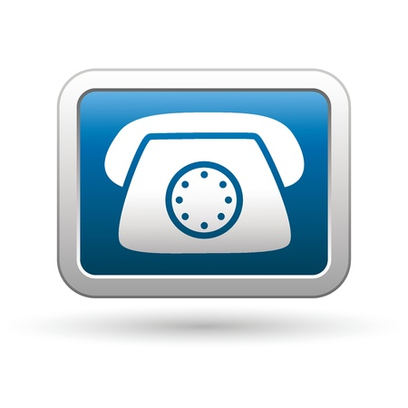 long distance: Telephone icon on the blue with silver rectangular button  Vector illustration