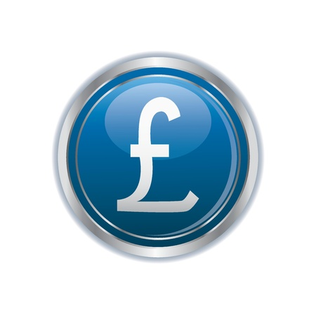 pound: Pound icon on the blue with silver button  illustration Illustration