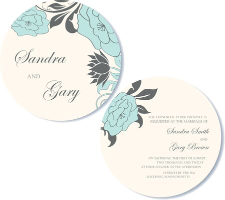 Round, double-sided floral wedding invitation  Stock Vector - 18406754