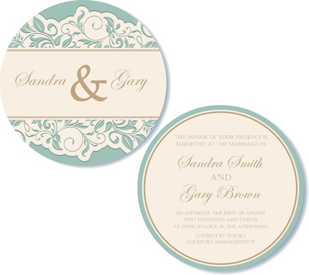 Round, double-sided vintage wedding invitation Stock Vector - 18406756