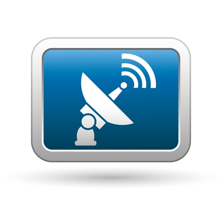 receiver: Satellite icon on the blue with silver rectangular button  Vector illustration Illustration
