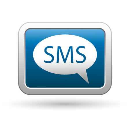 sms: SMS icon on the blue with silver rectangular button  Vector illustration