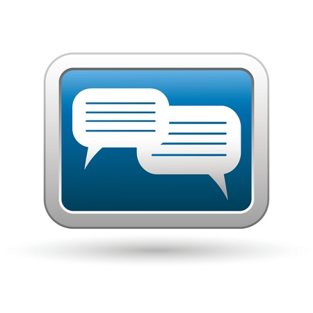 oft: Speech bubbles icon on the blue with silver rectangular button  Vector illustration