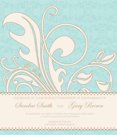 Beautiful vintage wedding invitation with floral elements  Vector
