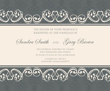 aniversario de bodas: Damasco invitación de la boda o de la tarjeta anuncio