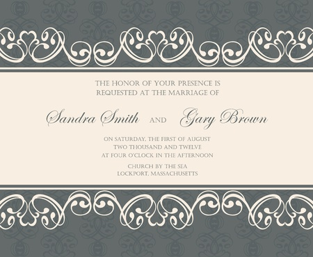 date of birth: Damask wedding invitation or announcement card