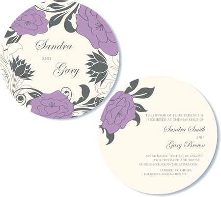 Round, double-sided floral wedding invitation Stock Vector - 18406752