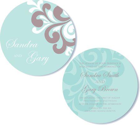 Round, double-sided wedding invitation  Vector illustration Stock Vector - 18406717