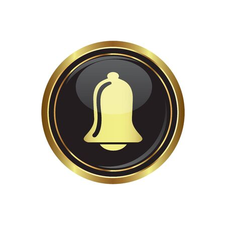 Ringing bell icon on black with gold button illustration Vector