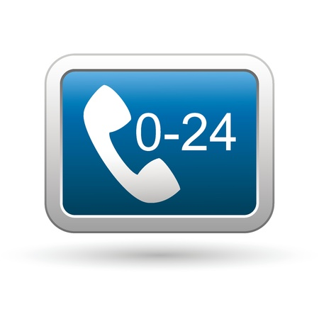 computer button: Support center call 24 hours icon on the blue with silver rectangular button  illustration Illustration