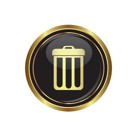 gold cans: Icona del cestino sul nero con bottone oro illustrazione Vettoriali