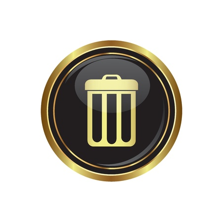 delete icon: Trash can icon on black with gold button illustration