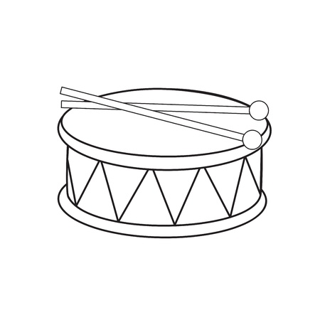 drumsticks: Toy drum and drumsticks  Illustration