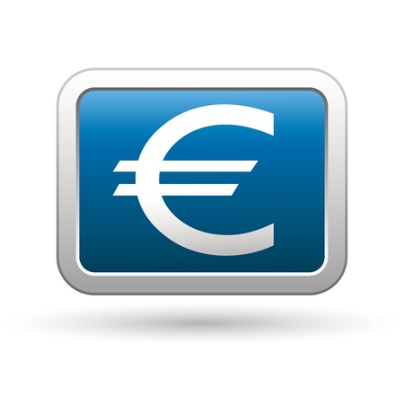 Euro icon on the blue with silver rectangular button illustration Vector