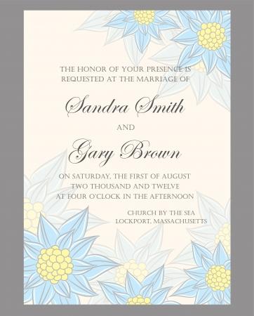 Floral wedding invitation or announcement card  Ilustração