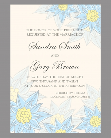 Floral wedding invitation or announcement card  Vector