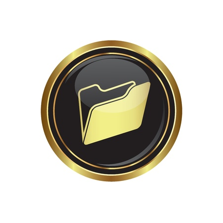 docs: Folder icon on black with gold button illustration Illustration