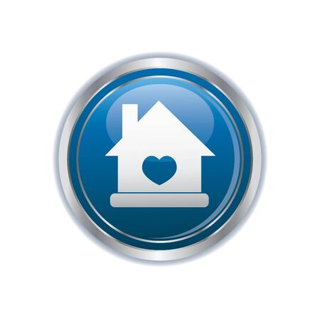 welcome home: Home icon on the blue with silver button illustration