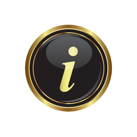 approval button: Information icon on black with gold button illustration Illustration