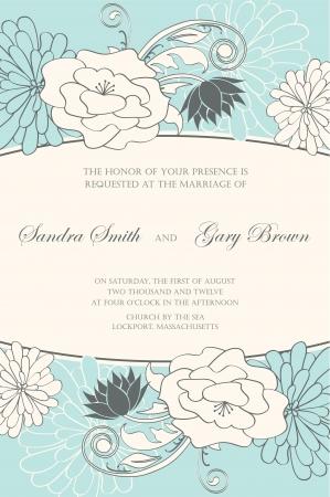 Floral wedding invitation illustration Vector