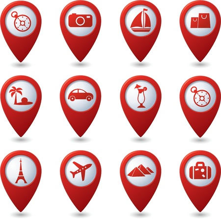 map pin: Map pointers with travel icons illustration