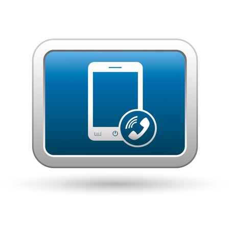 Phone with call icon on the blue with silver rectangular button  illustration Vector