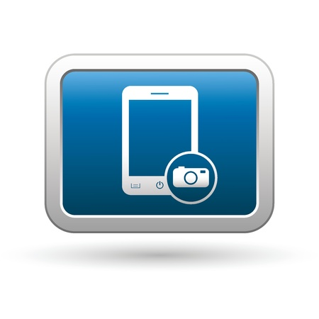 Phone with camera menu icon on the blue with silver rectangular button illustration Vector