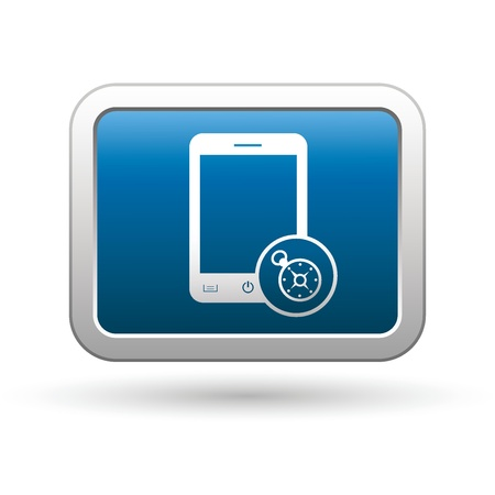 Phone with navigation icon on the blue with silver rectangular button illustration Stock Vector - 18699964