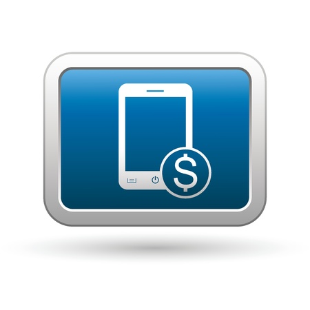 Phone with cost menu icon on the blue with silver rectangular button  illustration Vector