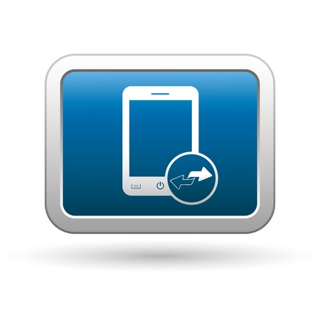 Phone with renew menu icon on the blue with silver rectangular button  illustration Vector