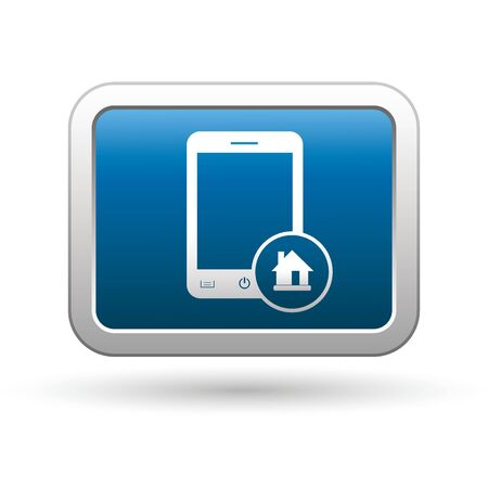 close button: Phone with home menu icon on the blue with silver rectangular button  illustration