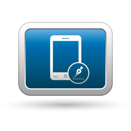 Phone with note menu icon on the blue with silver rectangular button  illustration Vector