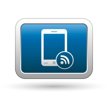 rss sign: Phone with rss icon on the blue with silver rectangular button  illustration