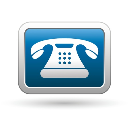 Telephone icon on the blue with silver rectangular button  illustration Stock Vector - 18699892