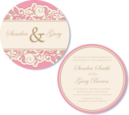 Round, double-sided vintage wedding invitation  Vector