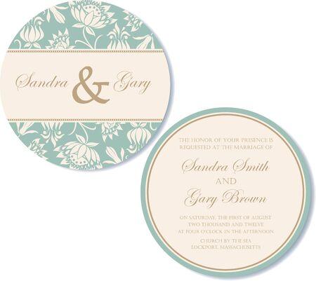 invitacion boda vintage: Ronda de doble cara invitaci�n de la boda del vintage Vectores