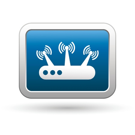 Router icon on the blue with silver rectangular button   illustration Vector