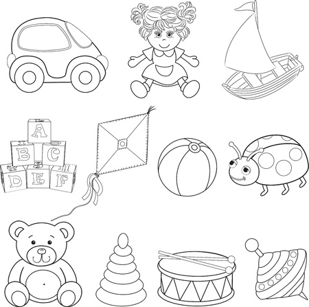 Set of outlined baby s toys elements illustration