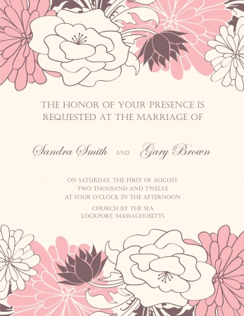 anniversary invitation: Floral wedding invitation illustration