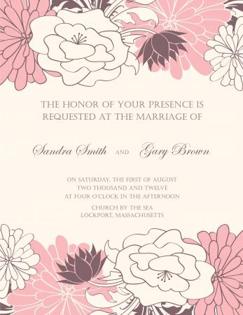 bridal shower: Floral wedding invitation illustration