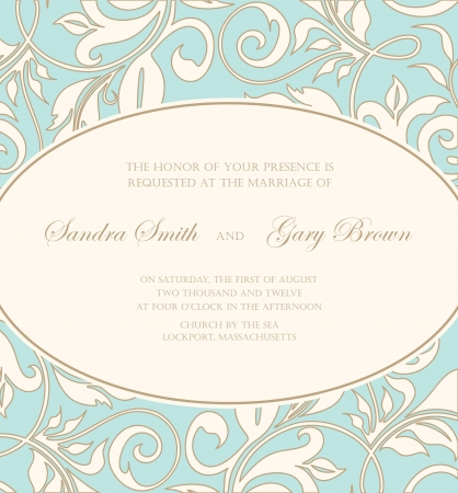 inbjudan: Bröllop inbjudan kort med blommiga inslag