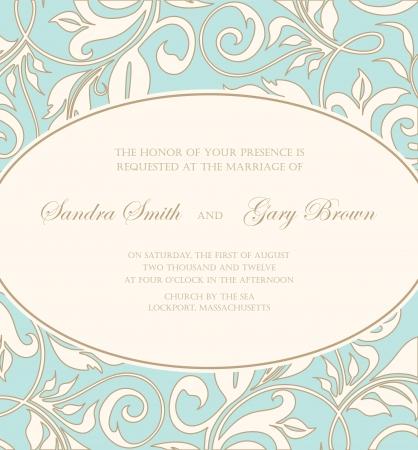 Uitnodiging van het huwelijk kaart met bloemen elementen Vector Illustratie