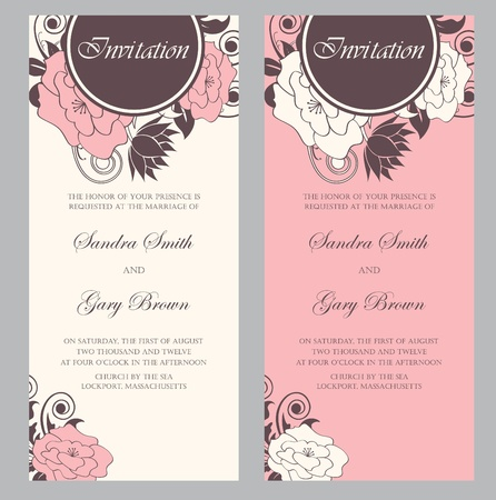 Wedding invitation cards set  Vector